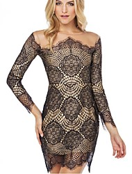 Movo Women's Sexy/Bodycon Round Long Sleeve Dresses (Polyester)
