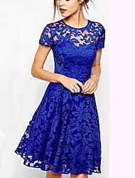 Women's Lace/Party Round Short Sleeve Dresses (Lace)