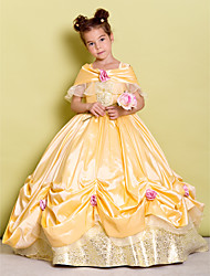 Ball Gown Floor-length Flower Girl Dress - Taffeta Off-the-shoulder with Bow(s) Flower(s)