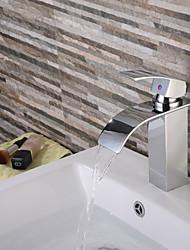 Contemporary Waterfall Bathroom Faucet (Silver)