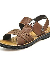 Chaussures Hommes - Décontracté - Marron / Kaki - Cuir - Sandales