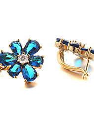 Sjeweler Female Fashion Gold-Plated Blue Flower Zircon Round Earrings