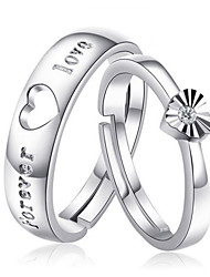 925 Sterling Silver Heart-Shape Ringent Couple Ring (2 PC)