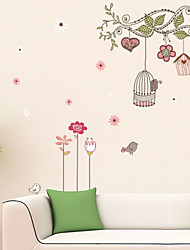 Wall Stickers Wall Decals, Cartoon Tree Birdcage PVC Wall Stickers