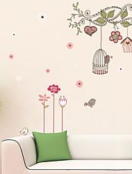 murali Stickers adesivi murali, wall stickers fumetto albero Birdcage pvc