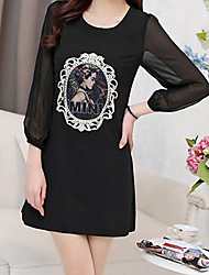 Women's Sexy Beach Print Party Micro Elastic Long Sleeve Above Knee Dress (Polyester)