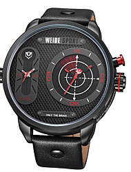 WEIDE WH-3409 Men's Genuine Leather Strap Two Time Zones Display Quartz Sports Watch - Multicolor
