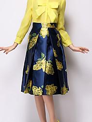 vrouwen vintage ongedwongen / druk knielange rokken, polyester inelastisch