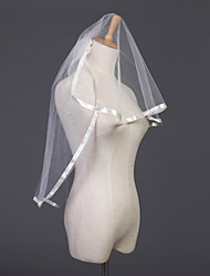 Wedding Veil Two-tier Elbow Veils Ribbon Edge 31.5 in (80cm) Tulle White Ivory