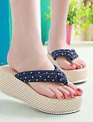Women's Shoes Fabric Wedge Heel Flip Flops Sandals/Slippers Dress/Casual Blue/Green/White