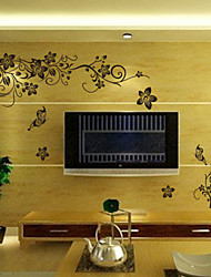 Classical Black Flower Vine TV Background Wall Decal Zooyoo027L Decorative Removable Pvc Wall Sticker