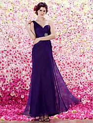 ts-Couture-Abendkleid - Trauben Mantel / Spalte einer Schulter bodenlangen Chiffon