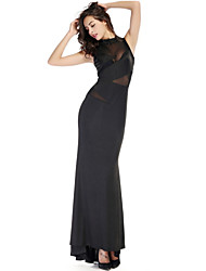 Clubwear Dresses Women's Spandex/Polyester/Elastic Silk-like Satin 1 Piece Black
