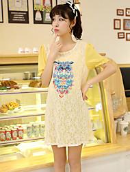 Maternity Casual Owl Print Lace Stitching Chiffon Short Sleeve Dress