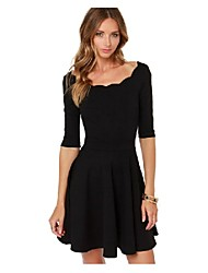 Women's Sexy Wide Neck ¾ Sleeve Dresses (Rayon)