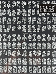 108PCS Mixed Flower Pattern White  Nail Art Stickers