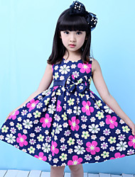 Girls Fashion Dark Blue Floral Party Birthday Baby Children Clothing  Dresses (100% Cotton)