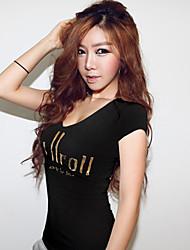 Women's Solid White/Black T-shirt , Round Neck Short Sleeve