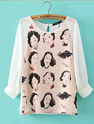 Women's Summer Vintage/Lady Print Inelastic Long Sleeve Regular Blouse Shirts (Chiffon)
