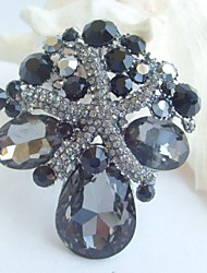 Bridal Accessories Gray Rhinestone Bridal Brooch Wedding Bouquet Wedding Deco Crystal Starfish Brooch Wedding Jewelry