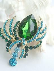 Women Accessories Gold-tone Turquoise Green Rhinestone Crystal Flower Brooch Bouquet Women Jewelry