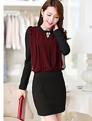 Women's Dresses , Chiffon/Viscose rayon Sexy/Party Long Sleeve K.M.S