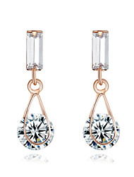 HKTC Clear Crystal Water Drop Earrings 18k Rose Gold Plated Simulated Diamond Bridal JewelryImitation Diamond Birthstone