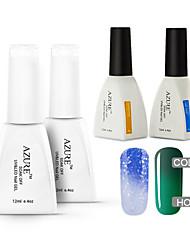 azuurblauwe 4 stuks / veel losweken langdurige nail art uv gel veranderende kleur polish vernis (# 30 + # 40 + voet + top)