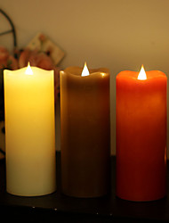 SIMPLUX™ 3*7 Inch Moving Wick Flameless Real Wax LED Pillar Candle Light With Timer,Battery-Operated,Ivory/Red/Coffee