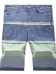 Men's High-quality Casual Stripe Bermudas Short Trousers Elastic Waist with Wash(100% Cotton)K5562