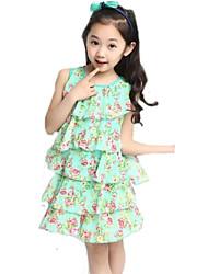 Girl's Summer Micro-elastic Thin Sleeveless Dresses (Chiffon/Cotton)