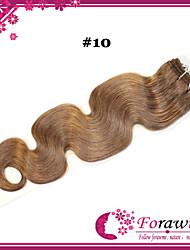 "4Pcs/lot 18""-24"" Brazilian Human Hair Extensions #10 medium golden brown Body Wave  Human Hair Weave 100g/bundle"