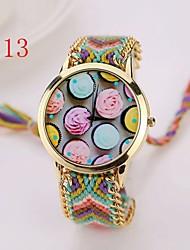 Wowen  Gold Watch New Arrival Rose  Designer Geneva Hand-Woven Wristwatch Handmade Braided Bracelet