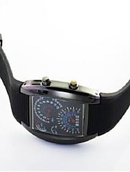 Fashion LED Light Instrument Panel Plastic Watch(Black)(1Pc)