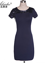 Aold®women's horizontal collar Short sleeve sequin sllim one-piece dress(Spandex/Polyester)