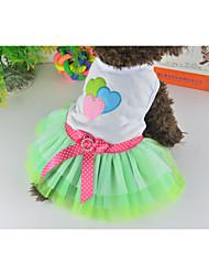 Cat / Dog Dress Green Summer Hearts / Bowknot