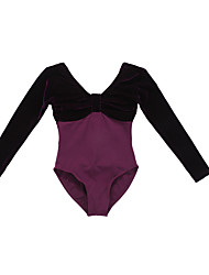 Ballet Leotards Women's/Children's Performance/Training Cotton/Velvet 1 Piece Black/Royal Blue/Dark Blue/Grape