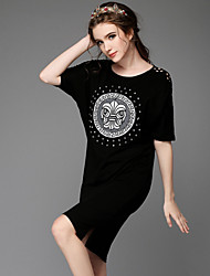 Summmer Women's Vintage Beading Embroider Hollow Out Casual Party Plus Sizes Loose Short Sleeve Asymmetrical Dress