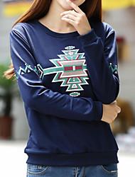 Women's Print Black/Gray T-shirt , Round Neck Long Sleeve