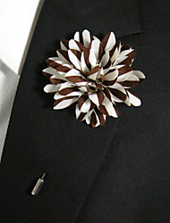 Men's Casual Brown And White Silk Goods Brooch