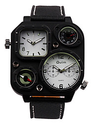 Oulm® Men's Military Watch Dual Time Zones Compass And Thermometer
