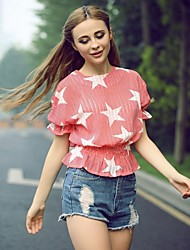 Women's Round Tops & Blouses , Chiffon Casual Short Sleeve JMDZ