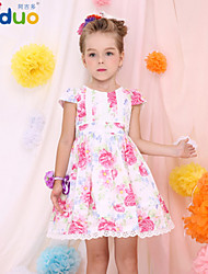 Girl's Kids Flower Printed Summer Pure Cotton Lace Princess Short Puff Sleeve Pageant Party Dress