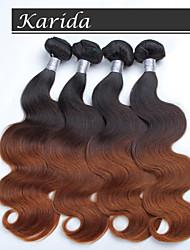 4 пучки 12-26 дюймов объемная волна перуанских Ombre волос ткет