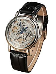 Men's Round Alloy Dial Leather Strap Mechanical Hand Wind Waterproof Watch(Assorted Colors) Cool Watch Unique Watch