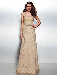 Homecoming Formal Evening Dress - Champagne Sheath/Column Sweetheart Floor-length Lace