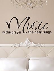 citant la musique mur de décalcomanies est le cœur de la prière muraux amovibles en vinyle autocollants muraux de zy8197 de décoration