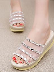 Women's Shoes Rhinestone Tulle Wedge Heel Peep Toe/Platform/Comfort Sandals/Slippers Casual Black/White