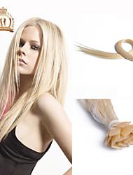 """20 """"Zoll-Flachspitze peruanische reine Haar gerade Menschenhaar-Farbe #platinum"""