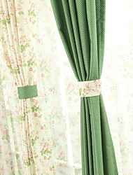 (Two Panels)Living Room Fresh Rural Style Flower Curtain (Mix Build A Green and A Flowers)